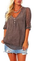 Edle Bluse Tunika Shirt kurzarm Seide viele Farben 6705 Damen One Size (braun)