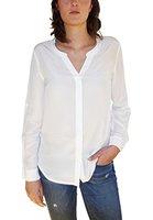 Posh Gear Damen Seidenbluse Camicetta Bluse aus 100 % Seide, weiß, Größe M