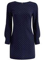 oodji Collection Damen Druckkleid mit Reißverschluss am Rücken, Blau, DE 44 / EU 46 / XXL