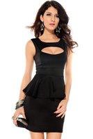 Ostenx KLEINE COCKTAILKLEID MINIKLEID ABENDKLEID PARTYKLEID KLEID Dress Club Hohle-heraus Brust Schößchen KleidGr. S/M 36 38 (Schwarz)