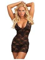 Summens Damen Frauen Unterwäsche Transparent Lace Schwarz Bodydolls Spitze mit G-String Babydolls Bondages Erotique Lingerie -Große größen (M)