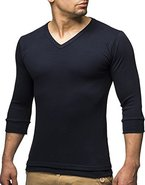 Leif Nelson Basic Herren 3/4 Arm Sweatshirt LN2026 (XL, Blau)