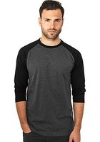Urban Classics Herren Shirt 3/4-Arm Contrast charcoal/black L