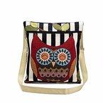 Longra Damen Bestickte Eule Tragetaschen Frauen Leinen Schultertasche Handtaschen Postbote Paket Umhängetasche Messenger Tasche (A)