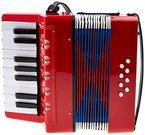 Classic Cantabile 00037968 Bambino Rosso Kinder Akkordeon (17 Noten Tasten, 8 Bässe, einstellbare Schulter-Trageriemen) rot