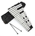 ts-ideen 6045 chromatisches Glockenspiel Xylophon - 30 Metall Noten Klangplatten mit gepolsteter Tasche und zwei Schlegeln