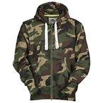 Herren Sweatjacke Winter Zip Hoodie Kapuzenjacke Camouflage, Größe:L;Farbe:Grün