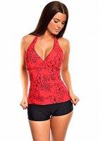 Eleganter Neckholder Push Up Tankini mit Hotpants / Bikinihose / Octopus / verschiedene Farben f4254 Farbe: Rot/ Schwarz, Gr. 40
