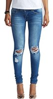 Brinny Damen Jeans Denim Hose Röhrenjeans Hüftjeans Rissen Destroyed Used Look, blau, S / 34