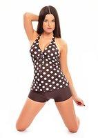 Eleganter Neckholder Push Up Tankini mit Hotpants/Bikinihose von Octopus Badeanzug 1123AH-f4124 Farbe: Braun mit weißen Punkten, Hotpants Braun, Gr. 44