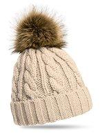 CASPAR MU104 Damen Mütze / Strickmütze mit Fellbommel, Farbe:beige;Größe:One Size