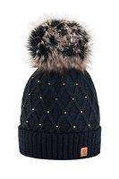 Wurm Winter Strickmütze Mütze Damen Kristalle Kiesel mit Große Pelz Bomme Pompon l SKI (Black) ( MFAZ Morefaz Ltd)