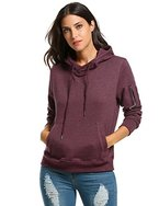 Zeagoo Damen Kapuzenpullover Herbst Winter Sweatshirt lange Ärmel Hoodies Casual Langarm T-Shirt mit Kapuze und Tunnelzug (Purpurrot, S)