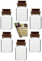 """12 Korkengläser """"Quadrat"""", je 150 ml, Ideal für Gastgeschenke, Gewürze, Glasdose, Aufbewahrungsglas, Korkenglas eckig"""