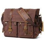 Lifewit 17,3 Zoll Laptoptasche Vintage Messenger Bag Umhängetasche Schultertasche aus Leder und Canvas