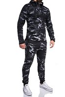 MT Styles Trainingsanzug mit Zipper Sportanzug R-7039 [Schwarz, L]