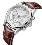 BUREI Herren Armbanduhr Chronograph mit weißem Zifferblatt und braunem Lederband