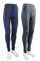 2 lange Thermo- Funktions- Unterhosen für Herren - Sport- und Arbeits-Unterhosen mit Eingriff (7/XL, 1x Blau / 1x Grau)