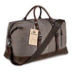 BLUBOON Weekender Vintage Reisetaschen Leder Segeltuch Herren Damen Echtes Leder Ordnung (Kaffee)