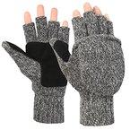 Novawo Unisex Wollmischung H?kelarbeit Cabrio fingerless Handschuhe mit F?ustlinge Abdeckung