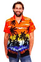 Funky Hawaiihemd, Beach, Orange, XL