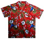Funky Hawaiihemd, Vogel Kirsche, Rot, XL