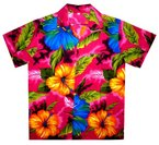 Funky Hawaiihemd, Big Flower, pink, XL