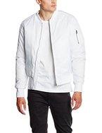 Urban Classics Herren Jacke - Basic Bomber Jacket, Bomberjacke mit aufgesetzter Tasche und Zipper am Arm (100% Polyamid für Formstabilität & Elastizität)