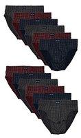 12 Herren Sport - Slips in klassischen Farbkombinationen ohne Eingriff 100% Baumwolle 12er Spar Pack Slip Herrenslip Jungen Man M L XL 2XL 3XL 4XL (6/L, Bedruckt 01)
