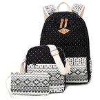 Donykarry 3 Teiliges Schultaschen-Set Canvas Schulrucksack + Umhängetasche + Mäppchen für Mädchen Damen Jugendliche (Schwarz)