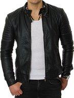 Prestige Homme Herren Biker-Jacke Kunst-Leder Gesteppt Gerippt Schwarz Grau MR03, Größe:XL, Farbe:Schwarz