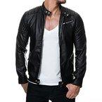 Prestige Homme Herren Biker-Jacke Kunst-Leder Gesteppt MR08, Größe:M