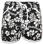 A-Express Schwarz Damen Badeshorts Sommer Blumen Shorts Surfen Blumenmuster Strand Hose Größe 50-52 (XL)
