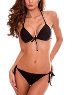 RELLECIGA Damen Bademode Triangel Bikini Unterteil im Brasil-Style Schwarz S