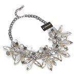 Jerollin Damen bling-bling Schmuck kurze Halskette mit Blumen Anhaengern aus Kristallen transparent damen statement Schmuck