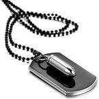 Flongo Legierung Anhänger Halskette Silber Schwarz Kugel Dog Tag Armee Stil Poliert Stammes 27.5 Zoll Kette Herren #B