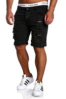 MT Styles Jeans-Bermuda Shorts Destroyed RJ-2299 [Schwarz, W31]