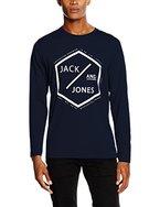 JACK & JONES Herren Langarmshirt Jcohex Tee LS Crewneck, Blau (Navy Blazer Fit:Reg), Large