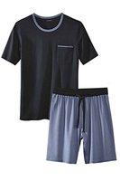 Livergy® Herren Pyjama / Shorty / Schlafanzug - 2-Teiler Navy - Hellblau XL 56/58