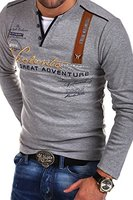 MT Styles 2in1 Longsleeve ADVENTURE T-Shirt R-0663 [Grau, XL]