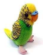 Wild Minis® 15017 - Plüsch Wellensittich ink. Vogelgezwitscher Geräuschen! Kuscheltier Vogel Plüschtier (Grün/Gelb)