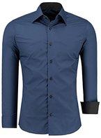 Herren-Hemd - Slim Fit - bügelfrei / bügelleicht - Ideal für Anzug, Freizeit, Business, Hochzeit - viele verschiedene Farben - Langarm Hemden mit Kontrast für Männer - navyblau - L