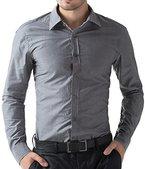 Formellen Hemd Grau Business Herren Hemd Slim Fashion Hemd Western Größe XL CL5252-2