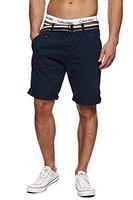 INDICODE Herren Cuba Shorts Bermuda kurze Hose inkl. Gürtel Blau Navy L