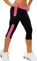 Jogging damen hose sport 3/4 Stretch Leggings Schwarz+Fuchsie Strumpfhosen jogginghose,L