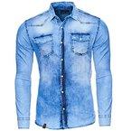 Reslad Herren Vintage Used Look Jeanshemd Langarm Hemd RS-7109 Blau M