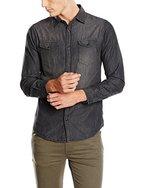 JACK & JONES Herren Freizeithemd Jorone Shirt LS Noos, Schwarz (Black Denim Fit:Slim), Large (Herstellergröße: L)