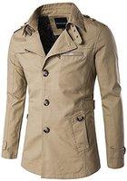 Whatlees Herren Design Lang geschnittenes winter Mäntel Trägershirt weicher Trenchcoat mit Knopfleiste funktion taschen B274-Khaki-XL