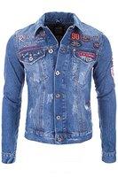 Redbridge Jeans Jacke Herren Blau Denim Biker Style Logo Jeansjacke NEU