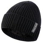 Novawo Verdickte Wollmütze mit Teddyfleece Innenfutter, Unisexe warme Kopfkappe Herbst Winter Mütze, Strickmütze